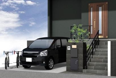 高低差のある新築外構 宅配ボックス付門袖