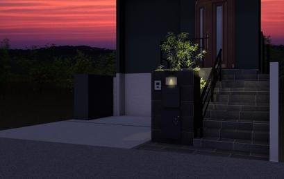 高低差のある新築外構 宅配ボックス付門袖夜