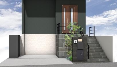 高低差のある新築外構 宅配ボックス付門袖 2